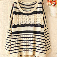Fashion Geometric Wave Striped Sweater&Cardigan-Fashion Shopping Mall