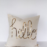 Hello Sequins in Shiny Gold Throw Pillow Cover