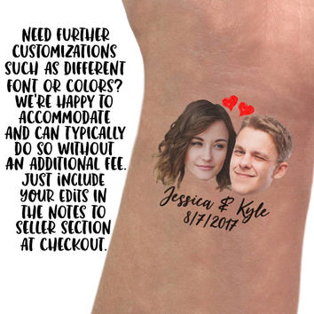 Wedding favors for guest Custom portraits tattoo / personalized gift couple / save the date thank you rustic bachelorette engagement gift