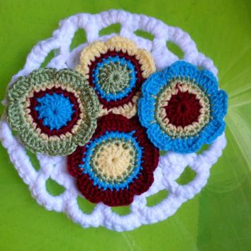 Hand Crochet Flower Appliqués-Set of 4- Apple Red, Sunshine Yellow, Key Lime Pie Green, and Teal Blue