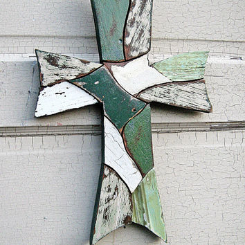Emerald Green Mosaic Cross Reclaimed Wood Art, Celtic Cross