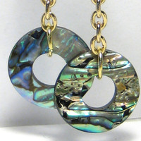 Paua Shell Disc Dangle Earrings