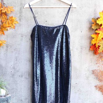 free people - time to shine sequin mini slip dress - navy