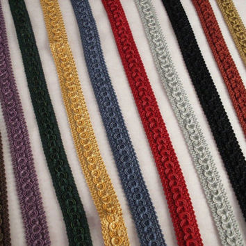 Woven Circle Braid Trim, Assorted Colors, Home Decor, Upholstery, Decorative Pillows, Costumes, Bags and Purses, Passementerie Trim, 2 YARDS