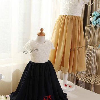 20% OFF!!! Cap Sleeves Ivory lace and Navy Blue/Gold Chiffon Skirt Flower Girl Dress Children Birthday Party Dress  with Sash/Bow(Z1019)