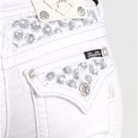 Miss Me Bootcut Jeans White Denim with Sequin Pocket and Yoke JP6273B