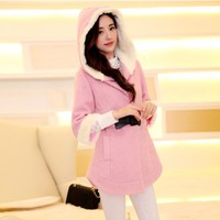 Women : Winter Hooded Cashmere Coat YRB0419