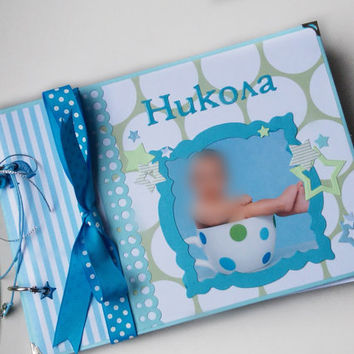 Personalised Baby Boy Photo Album, Baby Boy Photo Book, Baby's First Year Memory Album