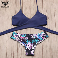 NAKIAEOI 2017 Sexy Cross Brazilian Bikinis Women Swimwear Swimsuit Push Up Bikini Set Halter Top Beach Bathing Suits Swim Wear