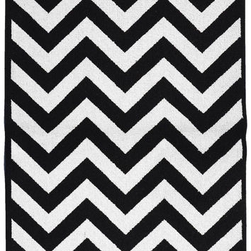 Garland Rug Chevron Area Rug 5 by 7-Feet Large Black/White