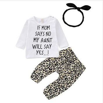 FOCUSNORM Newborn Baby Girls Set Clothes Print Letter Long Sleeve T Shirt Top+Leopard Pants Leggings Headband Outfit