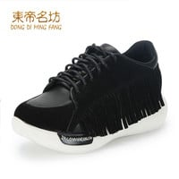 2017 New Fashion Spring Autumn Shoes Cow Split Leather  Fringe Decoration A66