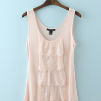 Pink Tiered Floral Lace Patchwork Tank Top