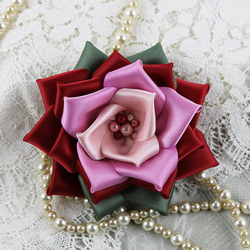 Pink and Red Victorian Ribbon Rose Brooch, Millinery Flower, Hat Flower, Ribbonwork, Valentine Corsage, Sweetheart, Wedding Sash Flower