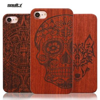 Soultz Case for iPhone 5 5s SE 6 6s 6S Plus Natural Retro Real Wood + PC Vintage Wooden Cases for iPhone 7 7plus Hard Back Cover
