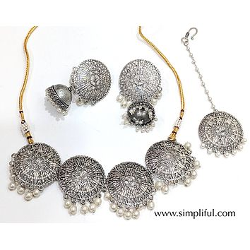 Oxidized bold circle choker Necklace and Earring set with Maang Tikka