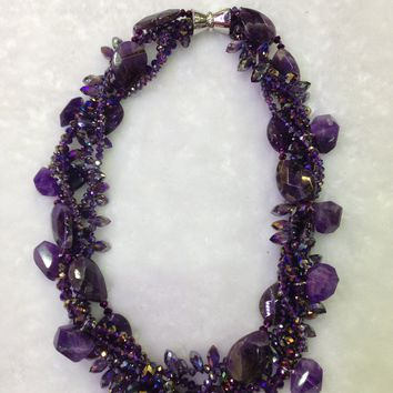 Amethyst And Purple Crystals Twisted Multi-Strand Necklace