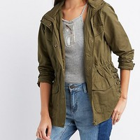 Hooded Lace-Up Anorak Jacket
