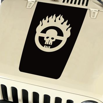 Hood Blackout Mad Max Skull Vinyl Decal Sticker (18) fit: Jeep Wrangler JK TJ YJ