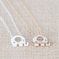 Cute Elephant Necklace - Gold & Silver