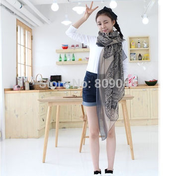 fashion silk scarf chiffon shawl long scaves women The disk of sika deer natural and pure and fresh 2pcs/lot SW21