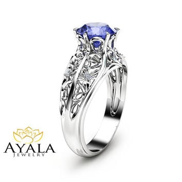 Bluish Violet Tanzanite Engagement Ring Round Cut Natural Tanzanite Ring in 14K White Gold Art Deco Styled Ring Unique Engagement Ring