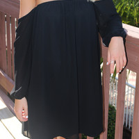 Resort Destination Off The Shoulder Black Chiffon Dress