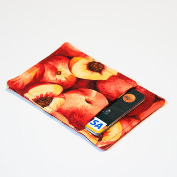 Apple fall themed Minimalist credit card wallet - Slim business card holder - Thin wallet - Gift card case- Men and women - Red,OOAK, Autumn