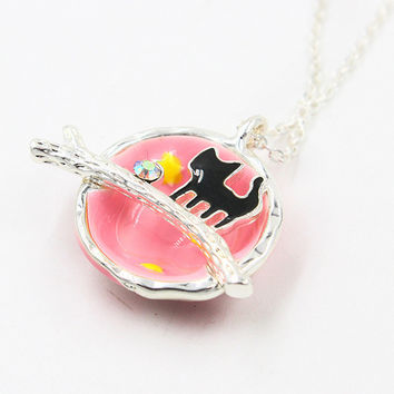 Pink Crystal And Cat Detail Galaxy Precious Pendant Necklace