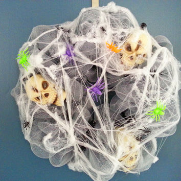 Halloween Spiderweb and Skulls Gray Deco Mesh Wreath