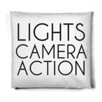LIGHTS CAMERA ACTION HOLLYWOOD PILLOW
