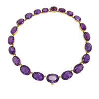 One-Of-A-Kind Antique Yellow Gold Oval Amethyst Riviere Necklace | Moda Operandi