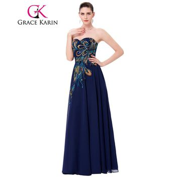 Grace Karin Plus Size Prom Dresses Chiffon Elegant Modest Long Peacock Dress Evening Formal Wear Navy Blue Wedding Party Gowns