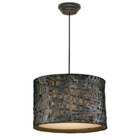 Rust Black Modern 3-Light Drum Style Foyer Pendant Ceiling Light