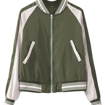 Army Green Contrast Back Wing Pattern Bomber Jacket