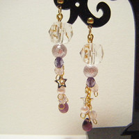 Purple and light pink earrings, elegant earrings, purple and light pink dangle earrings, handmade jewelry, gift for her, earrings with chain