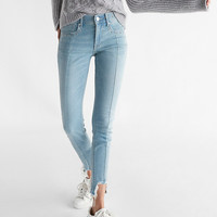 Mid Rise Destroyed Hem Stretch Ankle Jean Leggings
