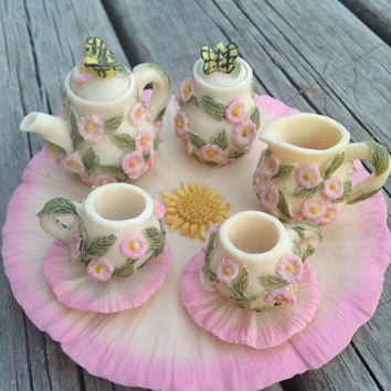 Miniature Poly-Resin Flower Tea Set: Fairy Garden, Dolls, Terrarium, Spring Garden Party