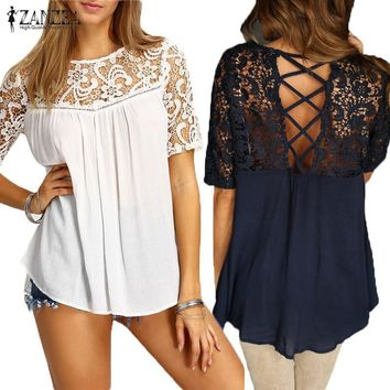 ZANZEA Elegant Women Blouses Lace Crochet Splice Shirts O Neck Short Sleeve Hollow Out Casual Loose Blusas Sexy Tops