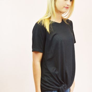 burnout tie top - black