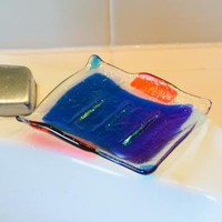 Blue Fused Glass Soap Dish by eyeseesage on Zibbet