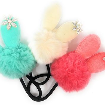 Snow Bunny Pom Pom Fur ball hair elastic ponytail holder with rhinestone snowflake