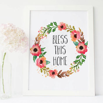 Bless this home sign Print, Wall art Decor, Digital Watercolor, Green Floral Wreath, Housewarming Gift Idea