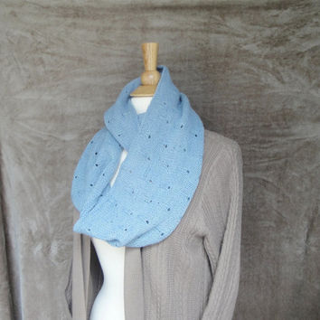 Long Cowl Scarf, Organic Merino Wool, Raindrop Design, Pale Blue Scarf, Long Wrap Scarf, Infinity Scarf, Hand Knit