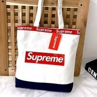 Supreme Fashion Lady Canvas Color Sales Single Shoulder Bag White+Dark blue