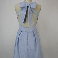 The Cori Dress - Blue Seersucker