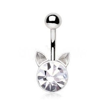 Crystal Cat Navel Ring