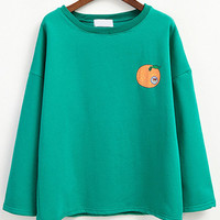 Green Orange Print Sweatshirt