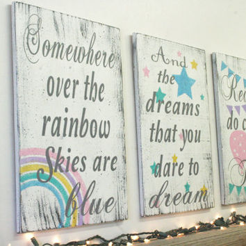 Somewhere Over The Rainbow Wood Signs Girls Nursery Boys Nursery Hot Air Balloon Nursery Decor Vintage Nursery Shabby Chic Nursery Handmade