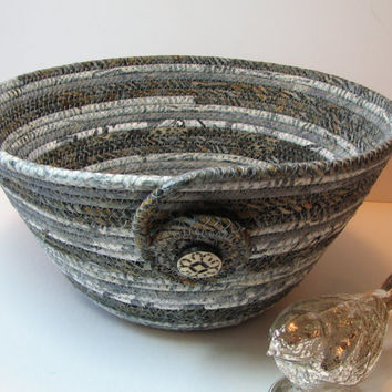 Coiled Fabric Basket, Coiled Fabric Bowl, decorative bowl, grey, $22